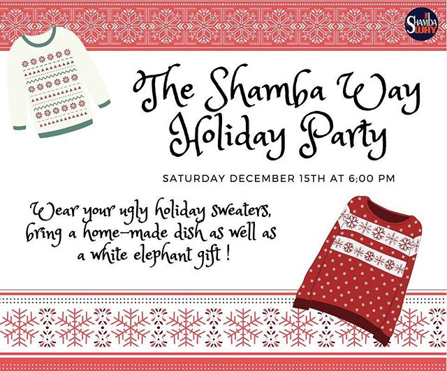 Can't wait to see y'all this Saturday at the Shamba holiday party 🎄🎄🎄