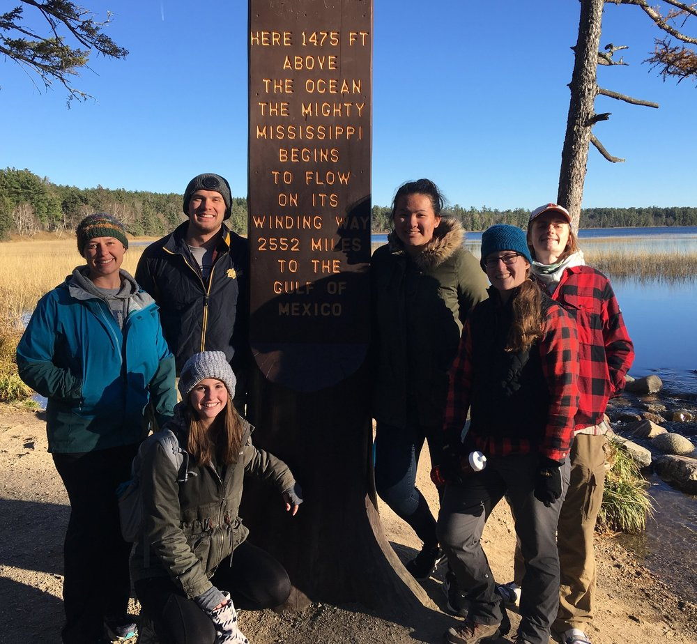 Grusz Lab, headwaters of the Mississippi, 2018: (front) Sarah Lysdahl, Ashley Zenzen; (back) Amanda Grusz, Evan Hedeen, Amanda Vu, Blake Fauskee.
