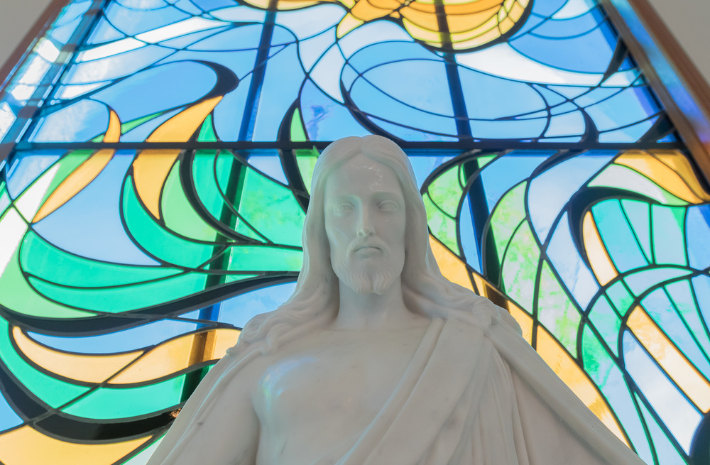 Christ statue on the altar.