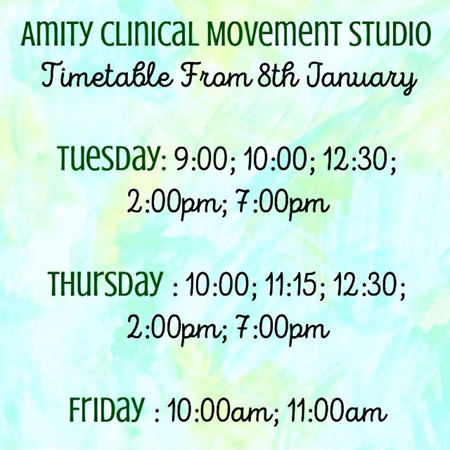 New Timetable is set!  Clinical Classes starting back 8th January, 2019.  Physiotherapy available by appointment from 8th January, 2019 . . . #physiotherapy #physiotherapist #clinicalpilates #physioleadpilates #pilatesstudio #frankstonsouth #morningtonpeninsula #rehabilitation #movementrehabilitation