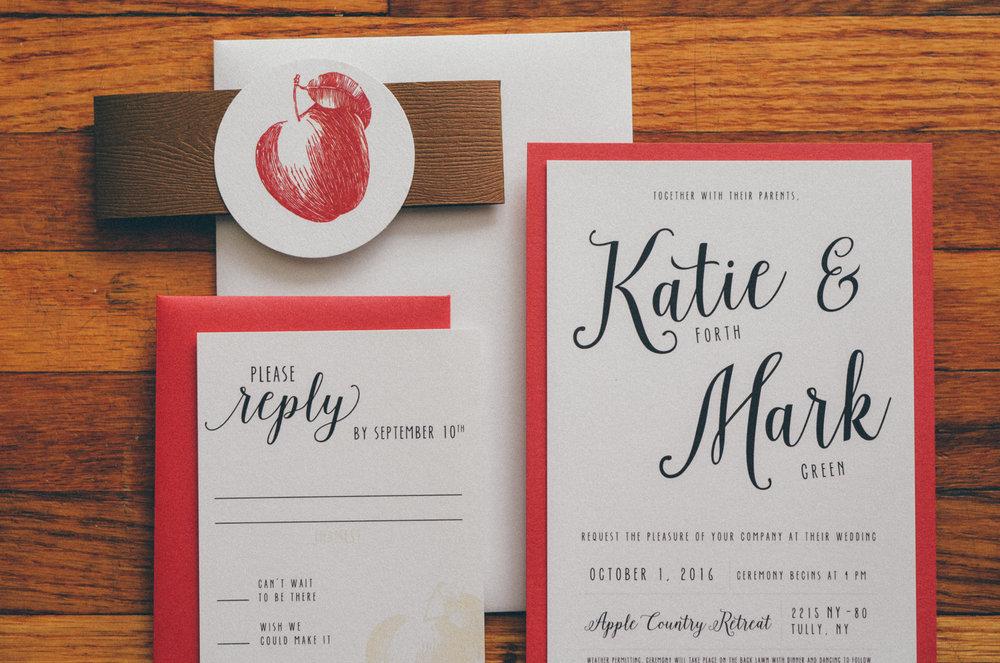 Vintage Apple Themed Wedding Invitations — Emma Bauso Design