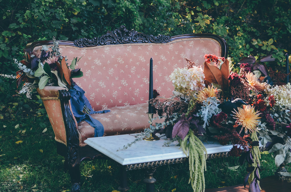 Fall Moody Vintage Hallowen Wedding Florals
