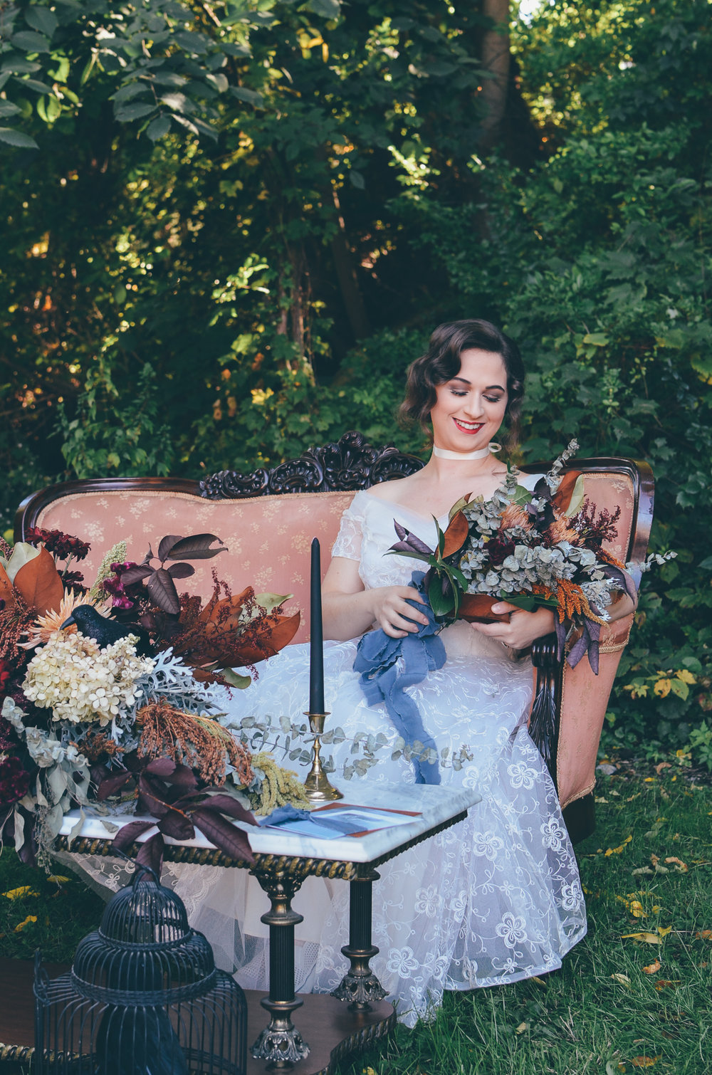 Fall Moody Vintage Hallowen Wedding Bride Bouquet