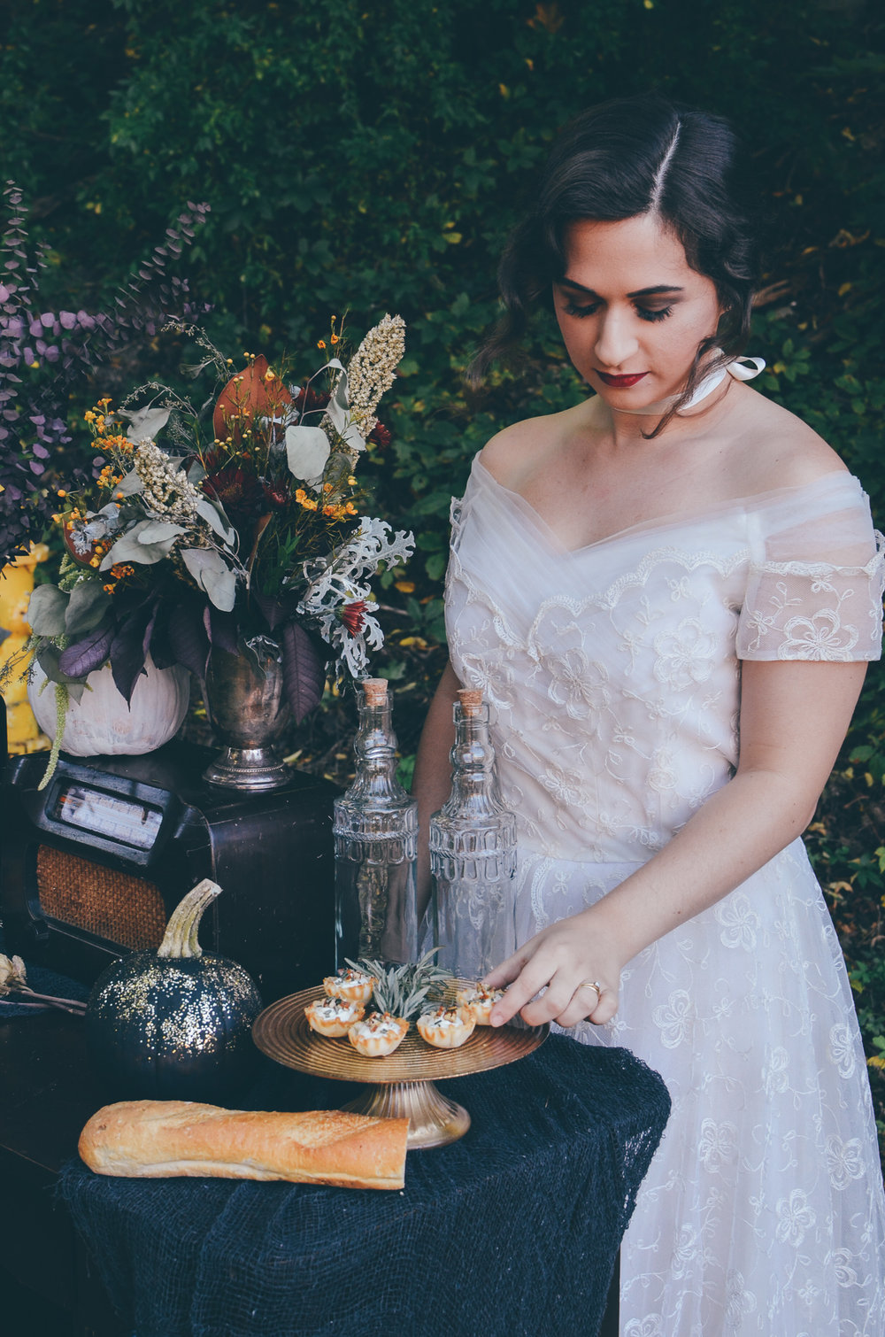 Fall Moody Vintage Hallowen Wedding Styling Bride