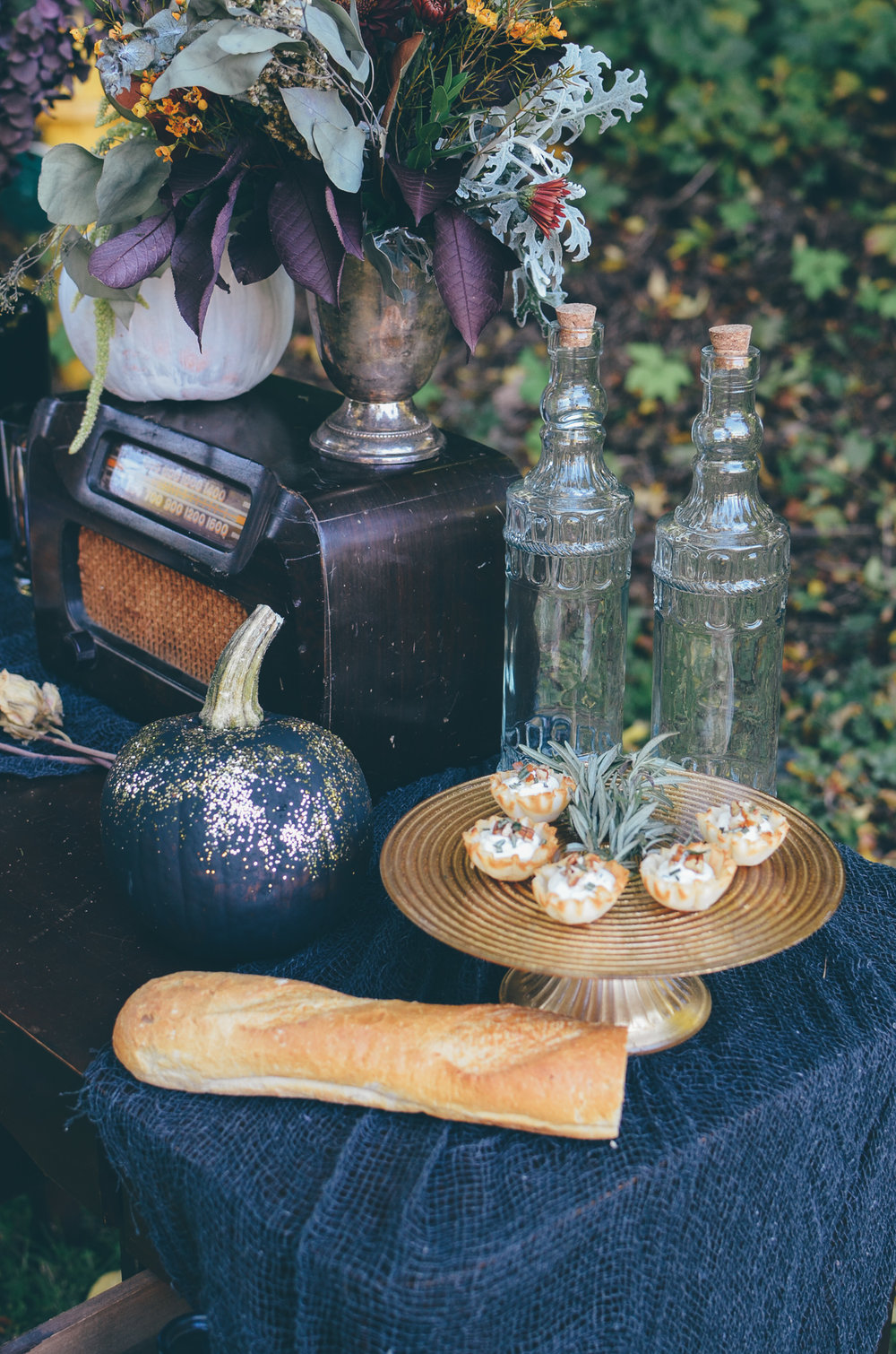 Fall Moody Vintage Hallowen Wedding Vignette Food Styling
