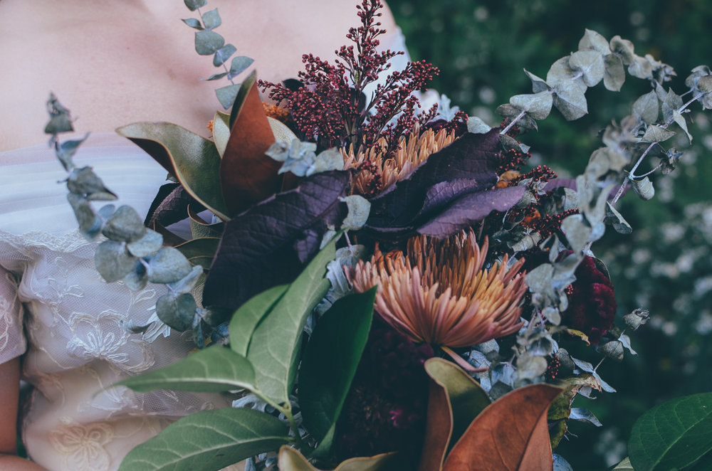 Fall Moody Vintage Hallowen Wedding Florals Bouquet