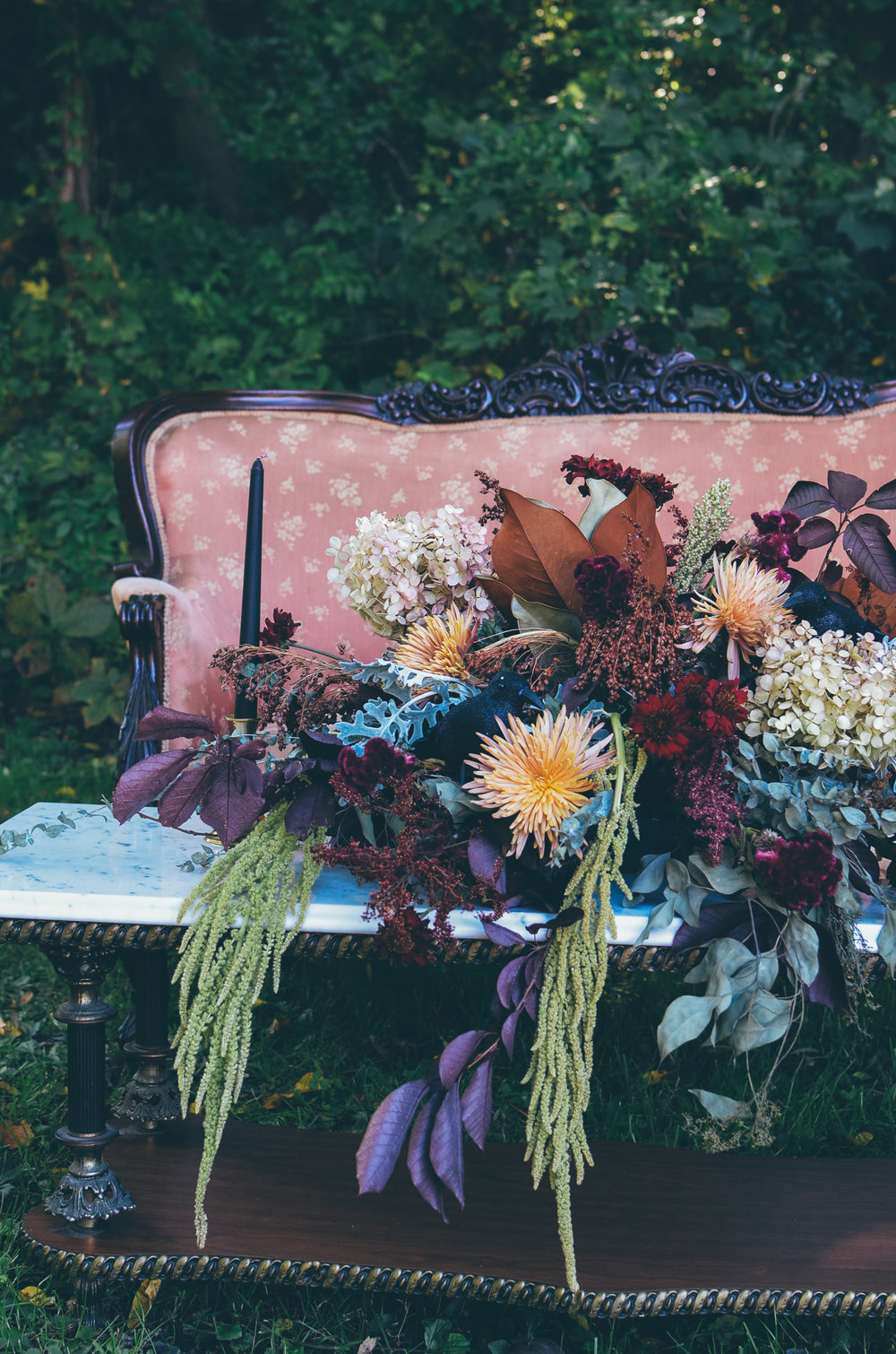 Fall Moody Vintage Hallowen Wedding Florals Centerpiece