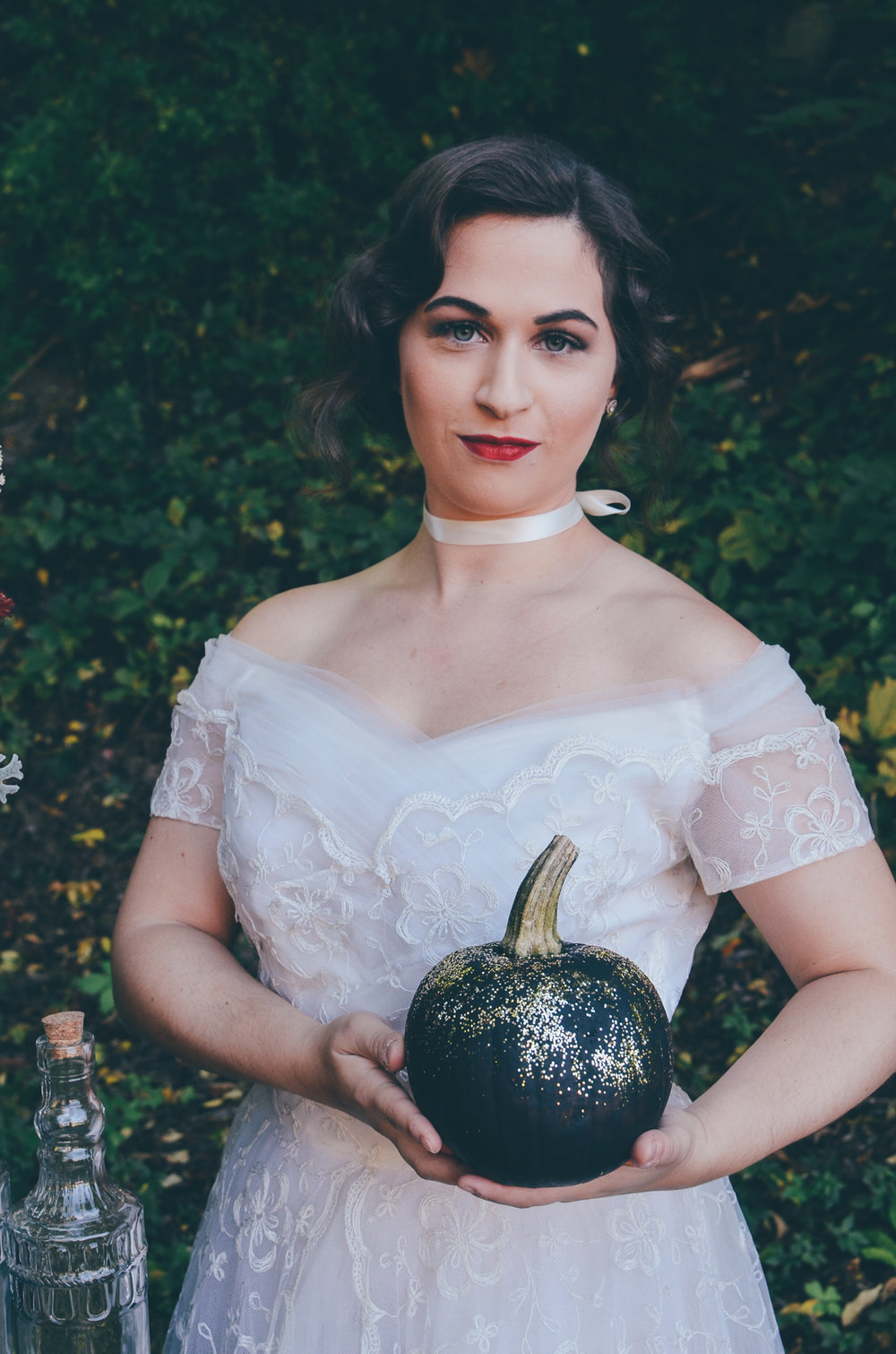 Fall Moody Vintage Hallowen Wedding Bridal Hair and Makeup