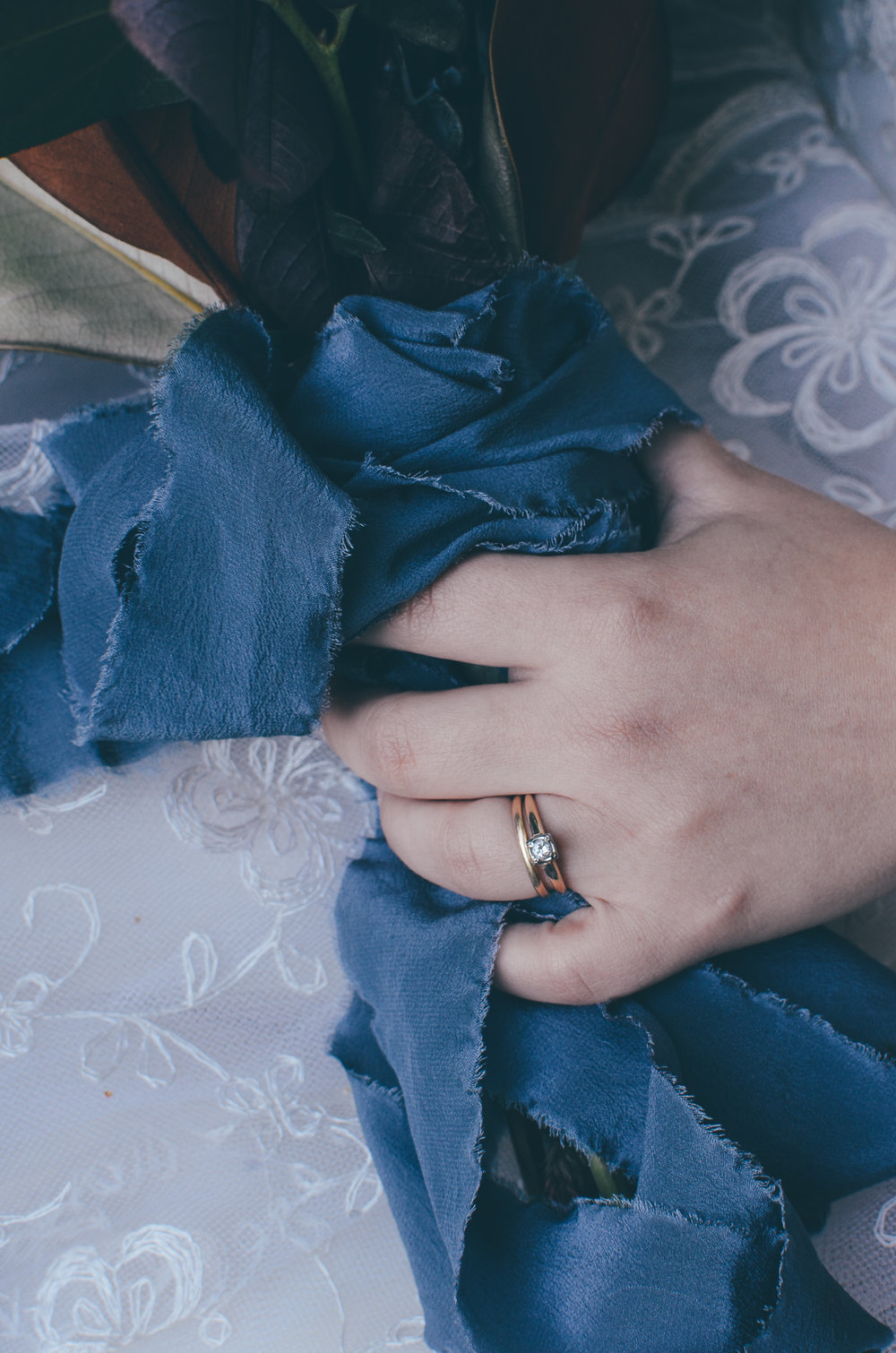Fall Moody Vintage Hallowen Wedding Bridal Rings // Tono & Co. Bouquet Ribbon