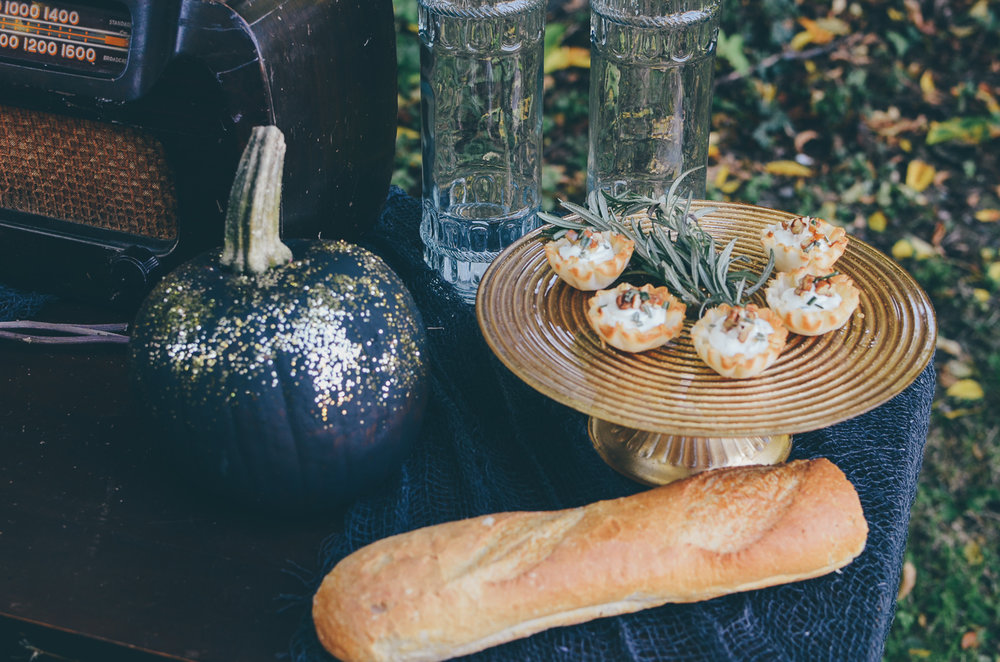 Fall Moody Vintage Hallowen Wedding Light appetizers