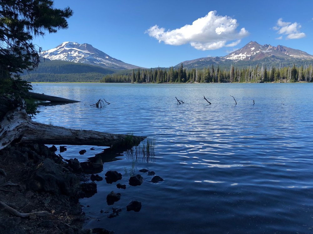 Hiking with the iWalk, I managed to get to the water's edge for this nice late-day photograph of the South Sister. I didn't realize at the time just how much utility (and boosted mental health) the iWalk would add to my recovery.