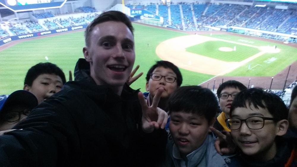 My students and I at a Korean baseball game