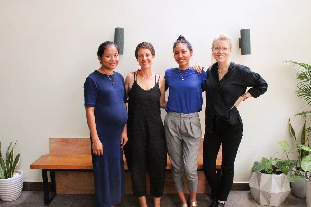 Kunthear Mov & Hanna Guy, co-founders of  Dorsu ; Srey Mao Saron & Rachel Dodson, co-founders of Penh Lenh (left to right)