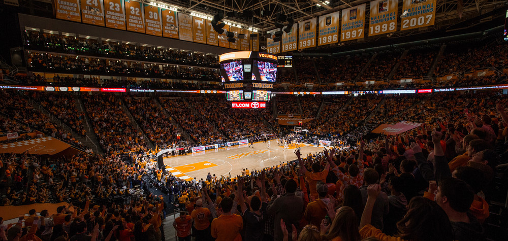 Thompson Boling Arena is home to the U.T. Men's and Women's basketball and Women's Volleyball teams. The arena is also used for concerts, conventions, and more. Image credit: UT Sports