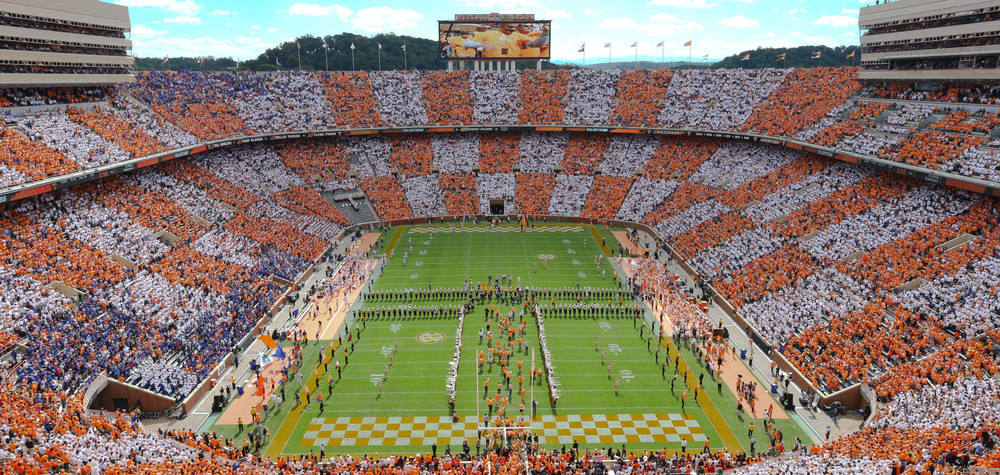 Home to the Tennessee Volunteers football team, Neyland Stadium can seat over 100,000 fans. Image credit: UT Sports
