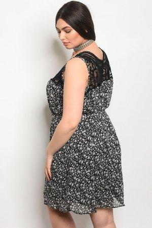Black Floral Lace Top Plus Size Dress Jaxlees Bucket