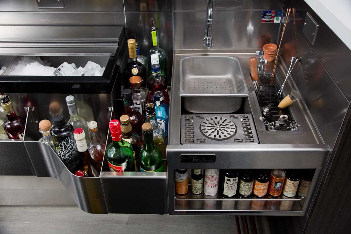 Tobin ellis cocktail station by perlick tobin ellis for Basement bar setup