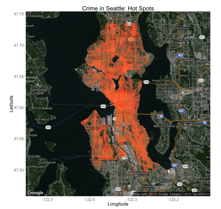 Crime heat map for Seattle
