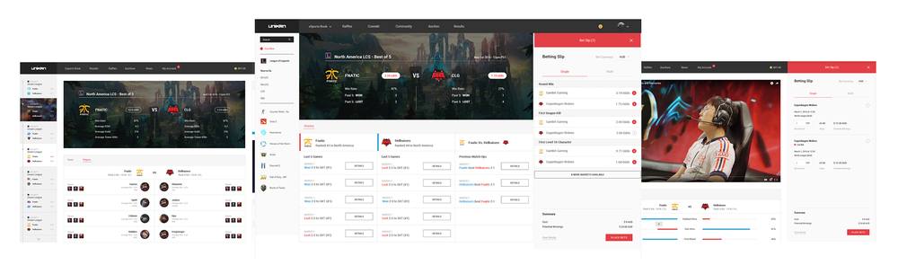 Redesigned user interface for unikrn.com desktop