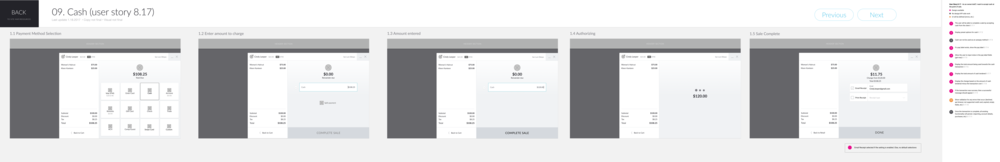 """Example of a delivered UX workflow : Frontdesk staff selects """"Cash"""" payment method, with no split payment, and completes the sale;final screen shows receipt options"""