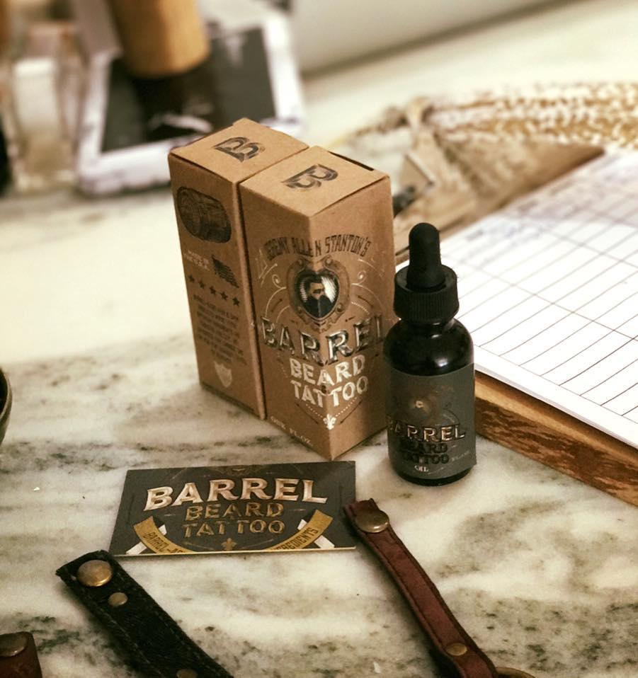 Barrel beard and tattoo