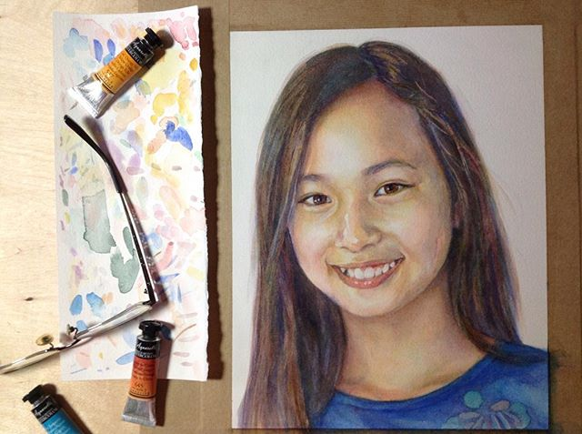 One of the simplest advice from my painting teacher is to have some scratch paper next to you to test how the color looks before you lay down paint. Flashback to when I was painting this lovely girl who just lights up the room with her warm smile. (Feeling sentimental when I see pix of her going to prom already, @marthasdisciple !)