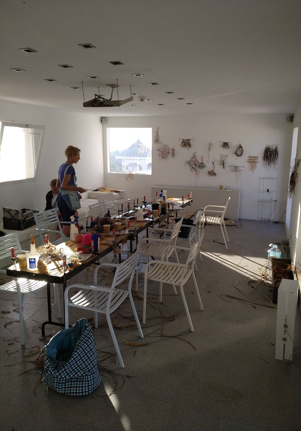 Our workshop, on the hotel roof terrace.