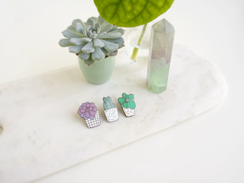 Oh No Rachio Cactus Club Trio Luxury Enamel Pins  |   ohnorachio.com