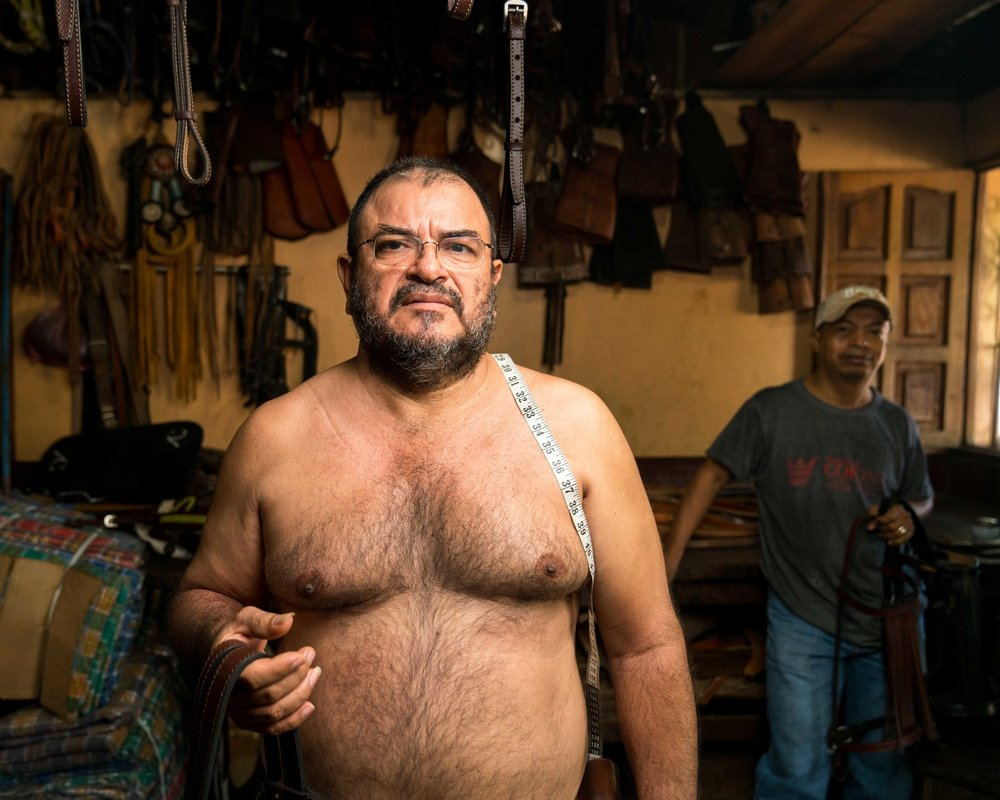 This is Sergio Antonio Aburto Gaitan, a master craftsman and owner of a Talabarteria (horse tack shop) tucked away in the side streets of Masaya, Nicaragua