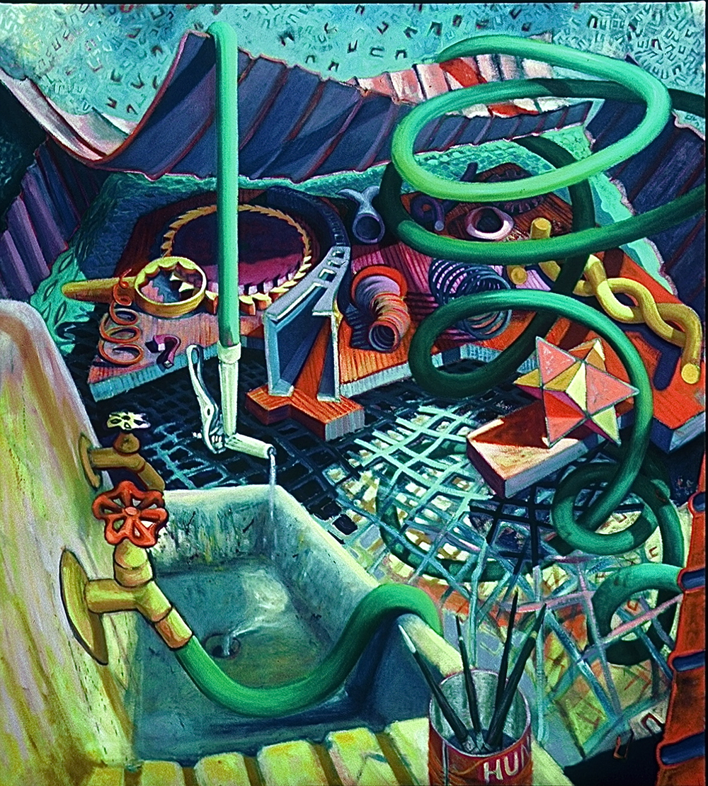 "SINK <br> 62"" x 56"" <br> oil on canvas"