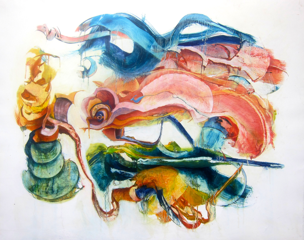 "ENTANGLED WITH ANOTHER <br> 44"" x 57"" <br> oil on rag paper"