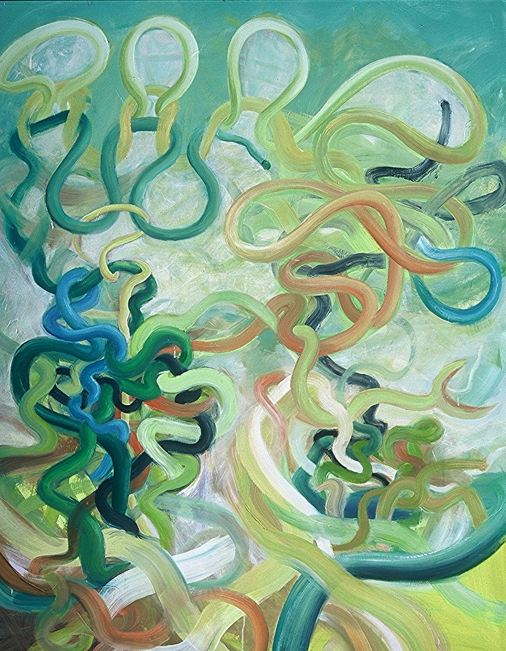"UNRAVELING <br> 62"" x 50"" <br> oil on linen"