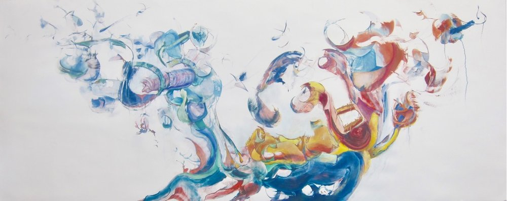 "OF 2 MINDS <br>42"" x 104""<br>oil on rag paper"