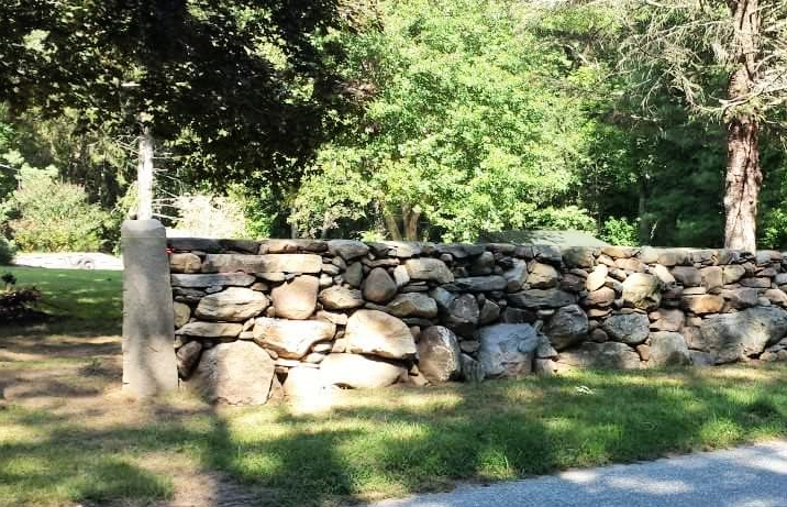 North Stonington granite post and wall custom built in 2014.