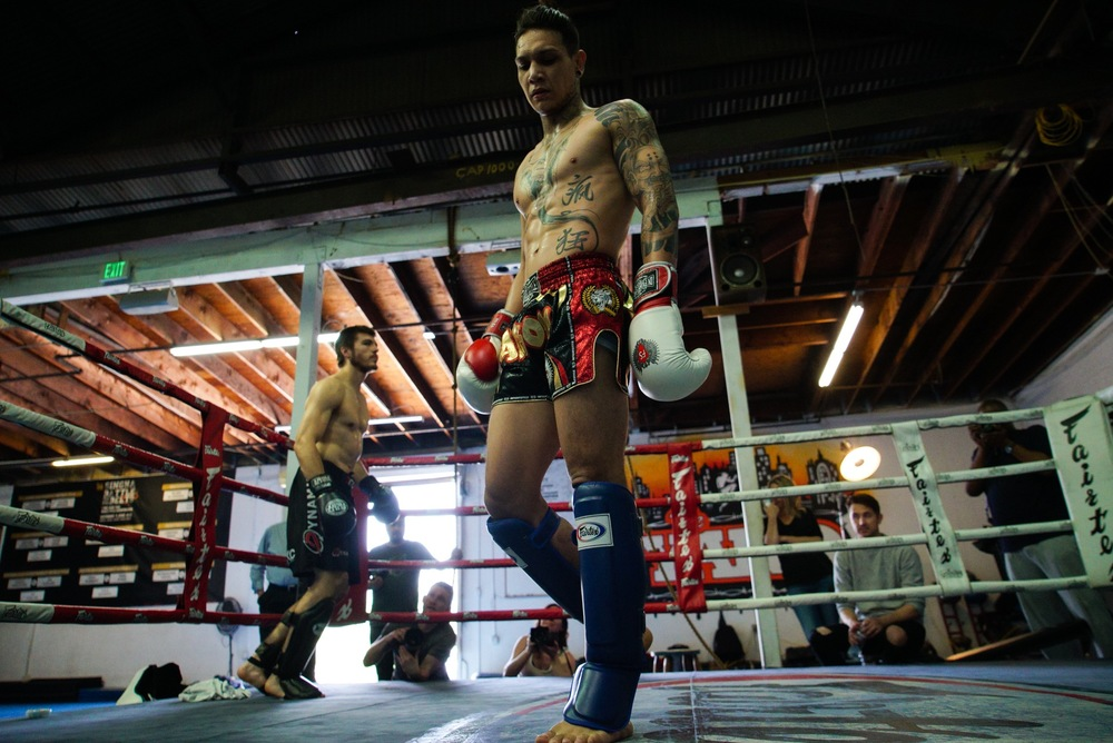 Brian Del Rosario gets ready for a light spar with Luke Drews at The Yard Muay Thai.