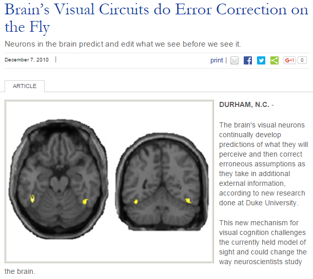 "Duke Today: ""Brain's Visual Circuits do Error Correction on the Fly"" - Dec. 7, 2010"