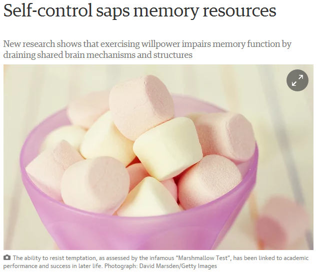 "The Guardian: ""Self-control saps memory resources"" - Sep. 7, 2015"