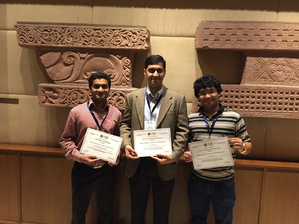 Myself, Prof. Vijay Raghunathan, and Arnab Raha pose with our Best Paper Award at IEEE International Conference on VLSI Design (Jan., 2016)