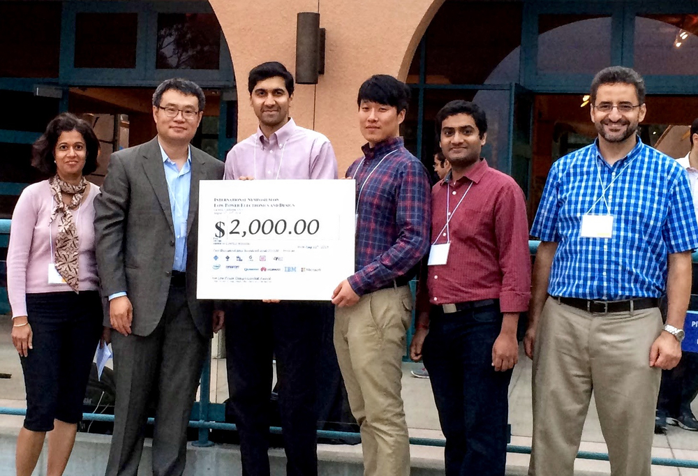 Prof. Vijay Raghunathan, Woo Suk Lee, and myself collecting the winning cheque from the organizers of the ISLPED Design Contest (Aug. 2014)