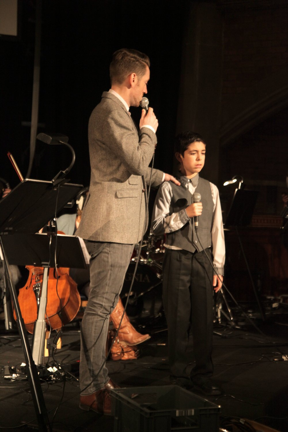 Robert Cameron Shaw and Ricardo Costa Bullita (boy) at Union Chapel for the premiere of Life from Light (2012)