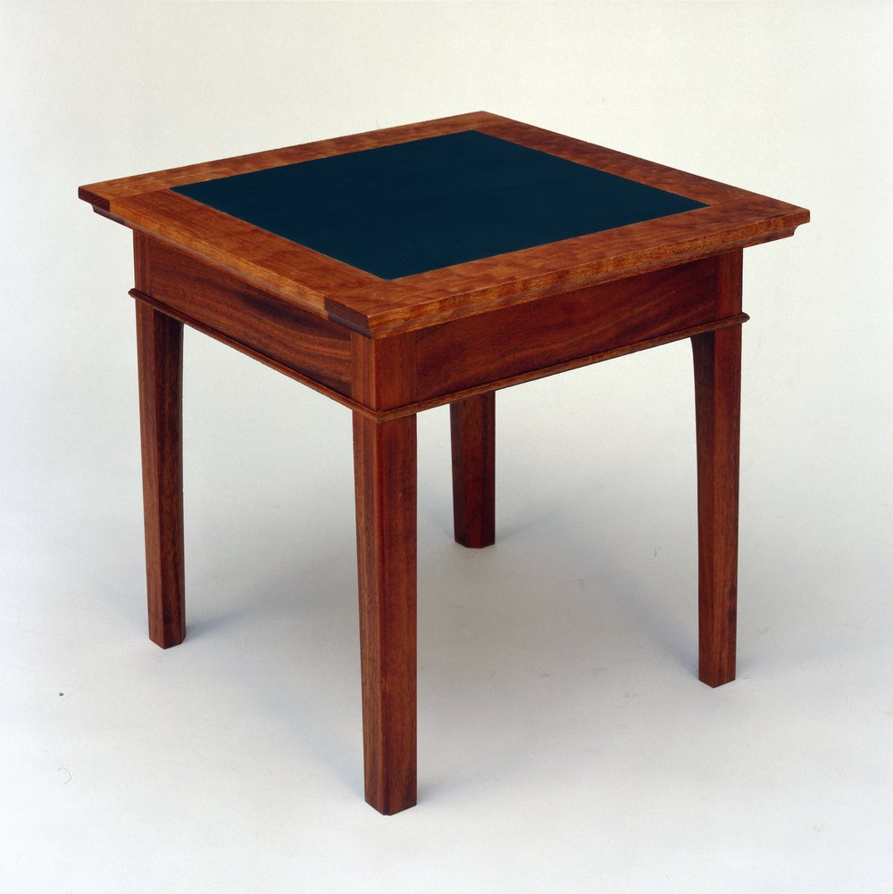Feeralist End Table, Mahogany and leather