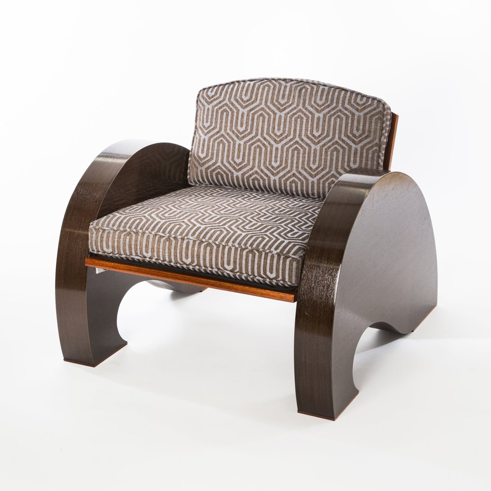 Art Deco Club Chair, in ultra sustainable materials. Obeche, Jatoba, aluminum