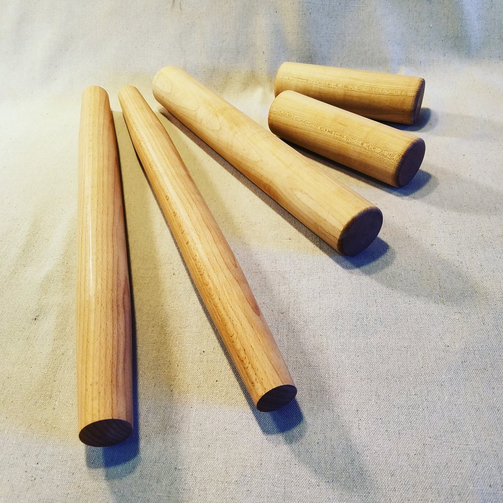 Tapered French, and straight english Bakers rolling Pins