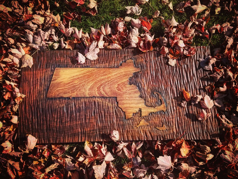 "Massachusetts Cartograph,  Hand Carved in Sapele, 36"" x 17"""