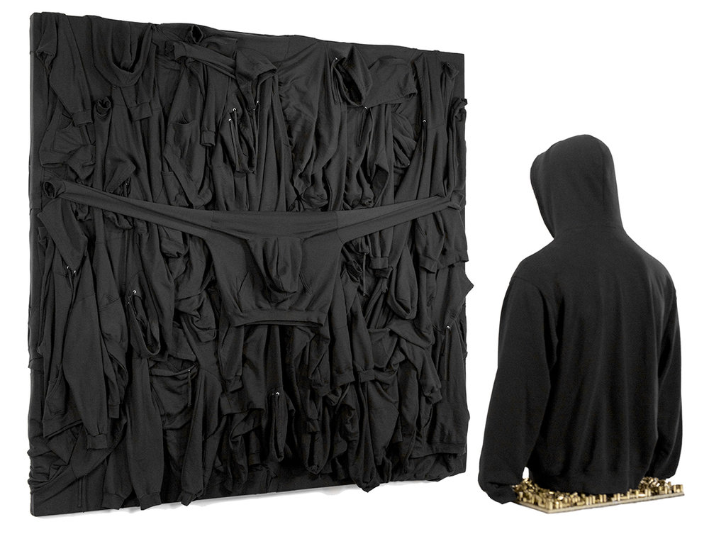"""TRAYVON MARTIN""  Sanford, Florida February 26, 2012  BLACK HOODIES, SKITTLES, .9MM BULLET CASINGS, RESIN, WOOD, GLASS"