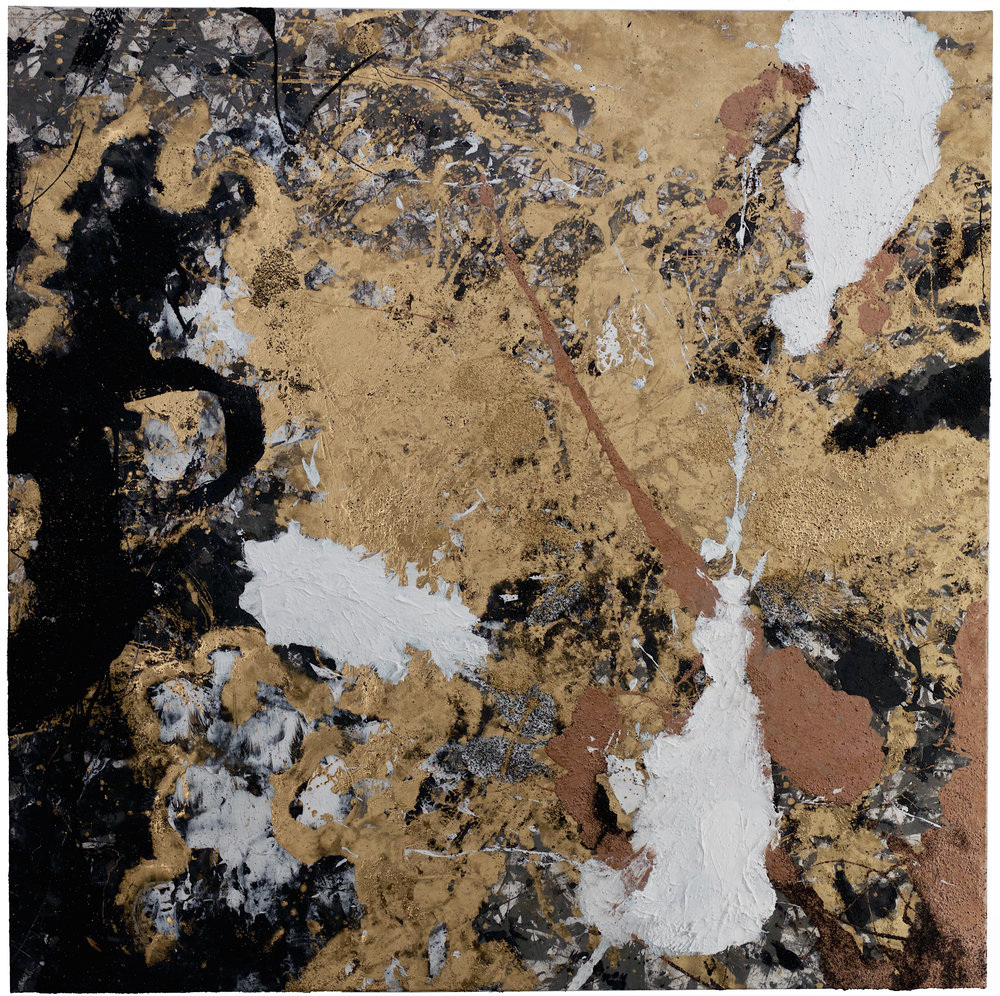 """""""SEARCHING FOR THE SELF IN SELF""""  OIL, PLASTER, RESIN, GUNPOWDER, CHARCOAL, ON CANVAS - 80X80"""