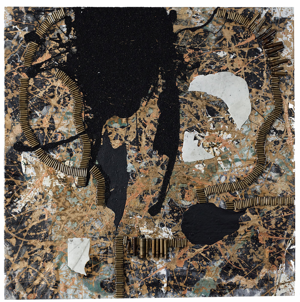 """60"""" X 60""""  """"THE LOST SON OF ADAM"""" - DEFENSIVE MOLECULAR DNA STRUCTURE  OIL, PLASTER, RESIN, BULLET CASINGS, GUNPOWDER, CHARCOAL, CANVAS"""