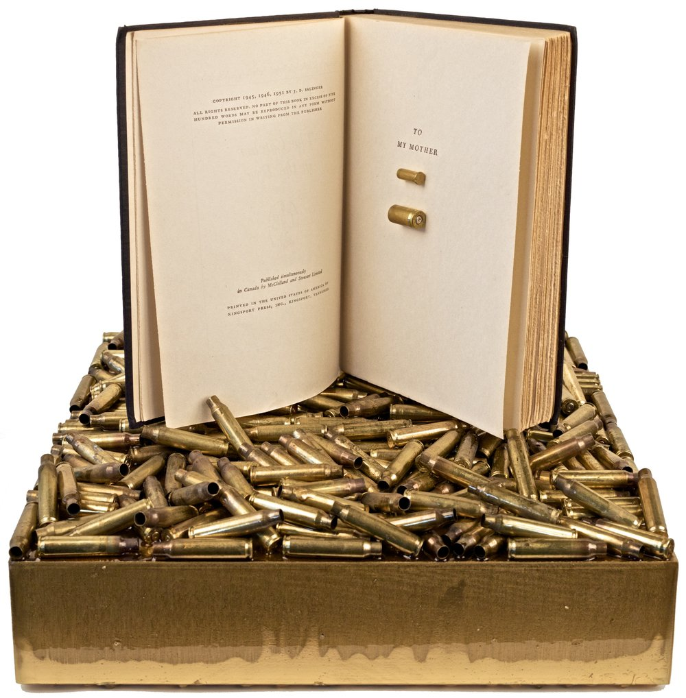 """SANDY HOOK ELEMENTARY""  Sandy Hook, Connecticut December 14, 2012  .22MM, .9MM, AR-15 BULLET CASINGS, THE CATCHER IN THE RYE, RESIN, OIL, ON WOOD"