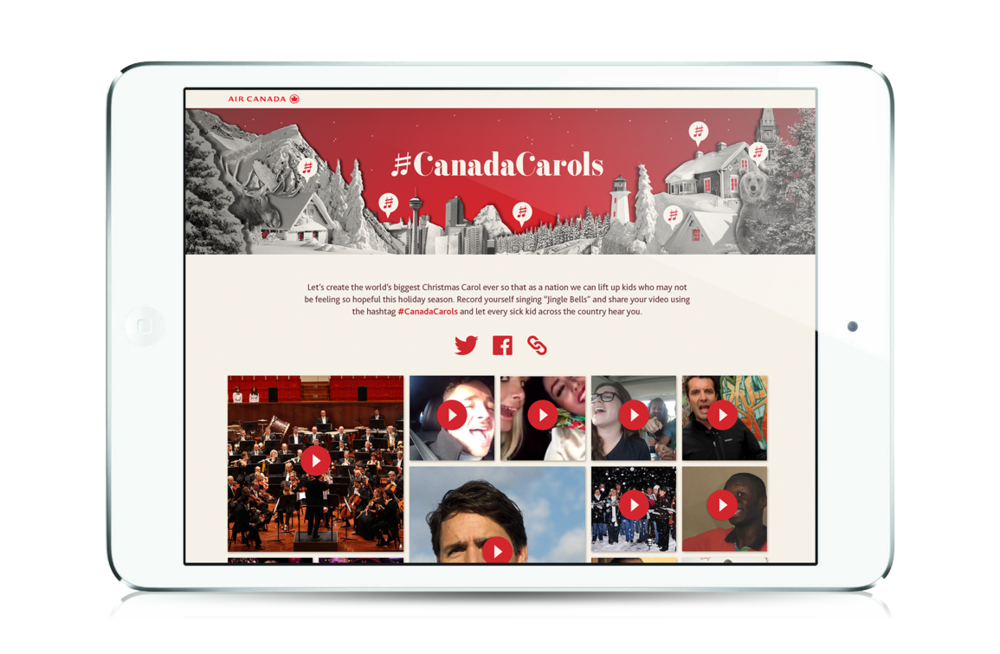 We created a special microsite that funneled #CanadaCarols videos from across the globe.