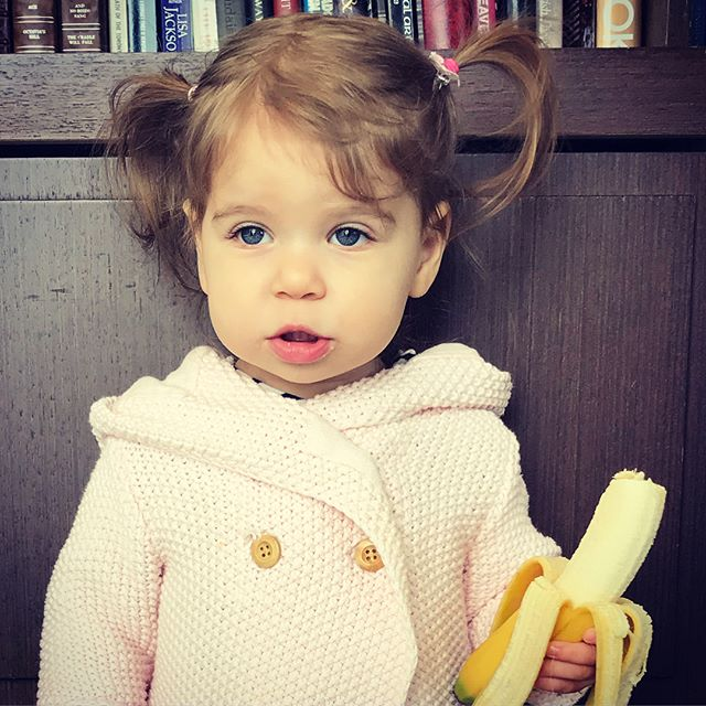 We flew across the world and suddenly, as if overnight, she grew up. 🍌 🐵 • • • • #notababyanymore #blyeeyedgirl #blueeyes #cute #mygirl #love #instagood #toddler #toddlerhair #toddlersofinstagram #banana #thatface #timegoesbytoofast